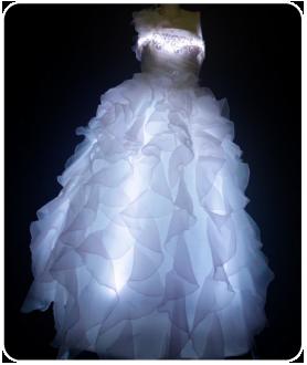ロング丈 LEDインナーパニエ LEDコルセット(ピスチェ) ホワイトドレス
