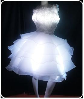 ショート丈 LEDインナーパニエ LEDコルセット(ピスチェ) ホワイトドレス